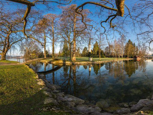 360° Panorama Cham, Villette-Park – Insel mit Brücke